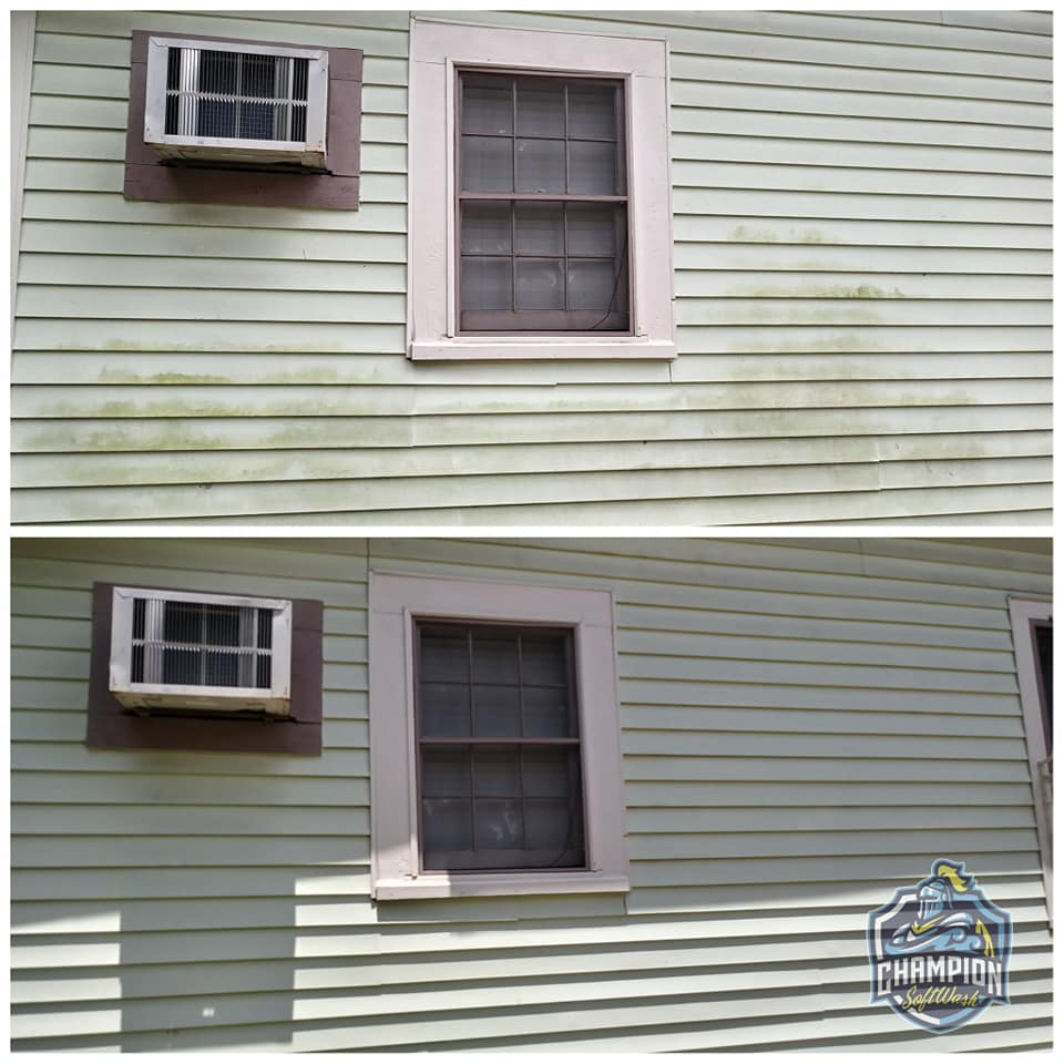 Before and After house wash pressure wash softwash cleaner in Historic Downtown Sanford