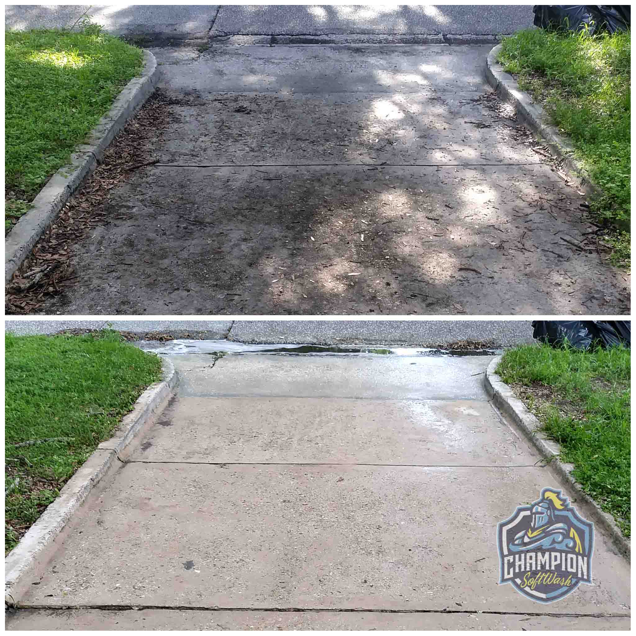 Before and After driveway cleaning, driveway pressure washing