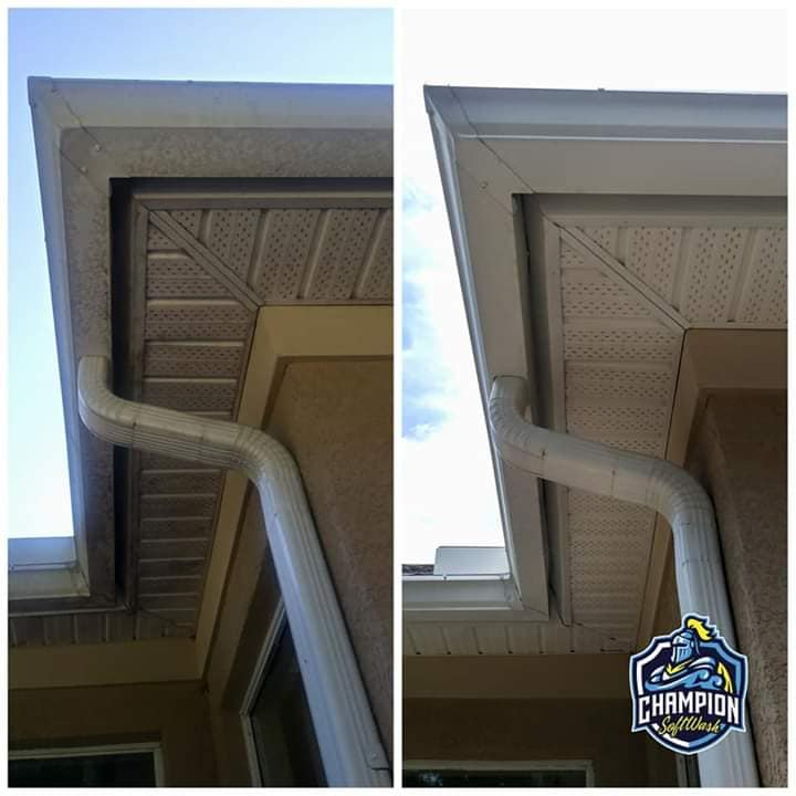 Gutter Cleaning in DeLand, FL, Gutter Brightening, gutter services, soffit cleaning, house washing, pressure wash, soft washing