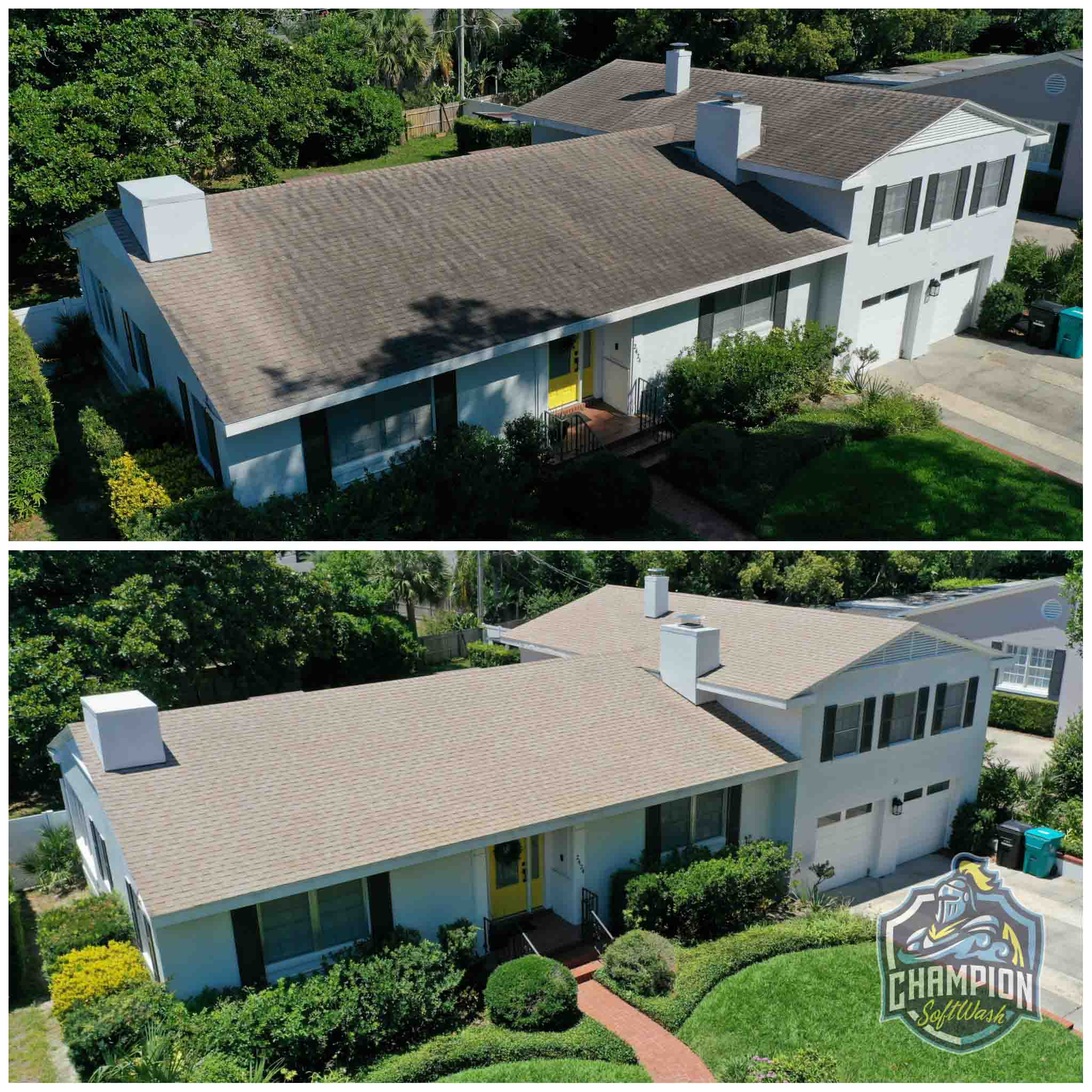 Roof Cleaning for realtor listing in Winter Park FL. Shingle Roof cleaning, skylight cleaning, flat roof cleaning