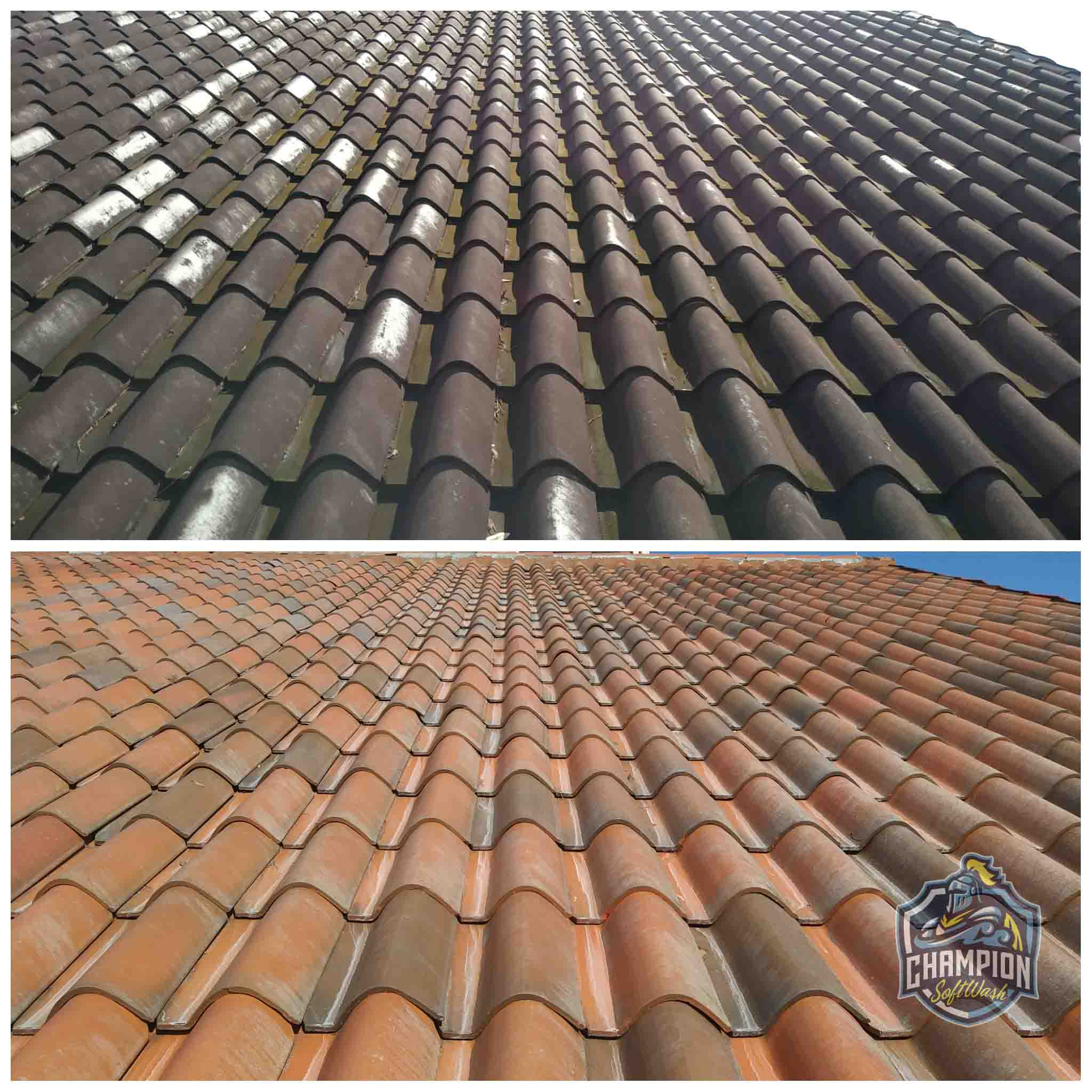 Barrel Tile roof cleaning soft washing pressure washer
