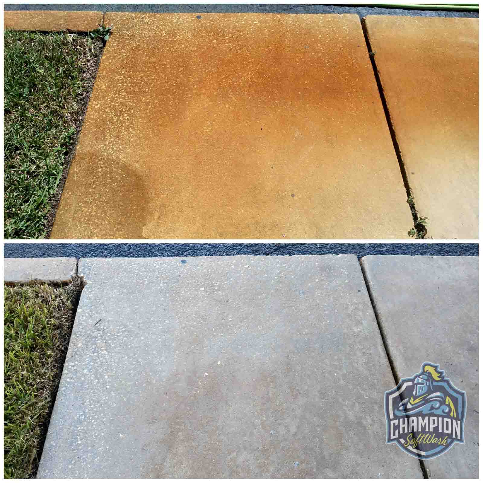 Irrigation iron rust removal on sidewalk in Altamonte Springs Florida