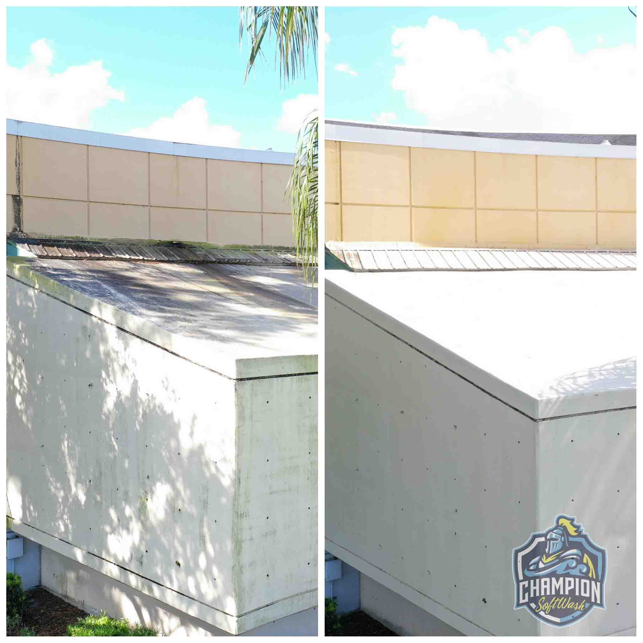 Before and After of Downtown Sanford Civic Center Roof and Exterior Cleaning using Soft Wash no pressure washer, Florida Pressure Expert, American SoftWash