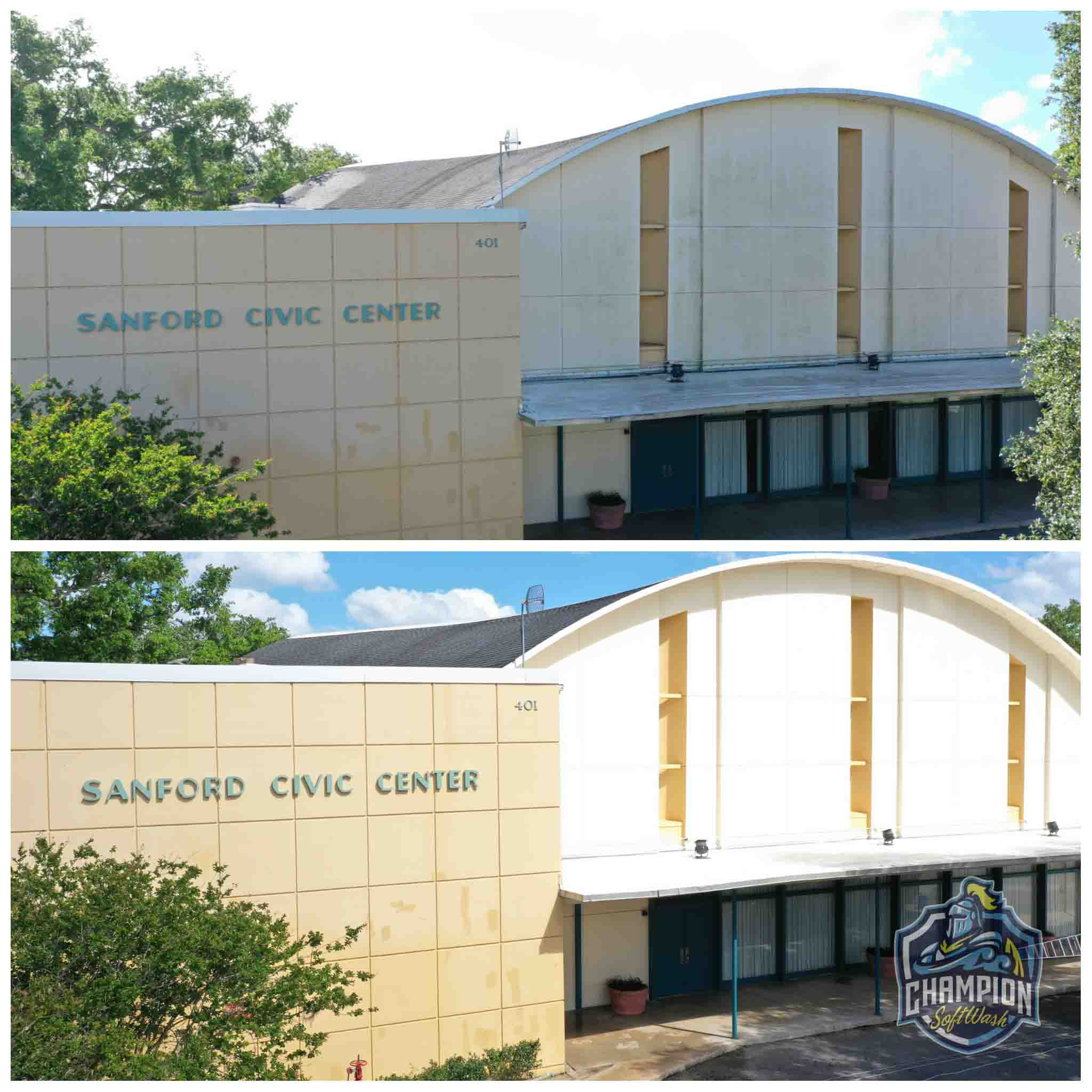 Sanford Civic Center, Soft washing of commercial municipal building in Sanford, FL