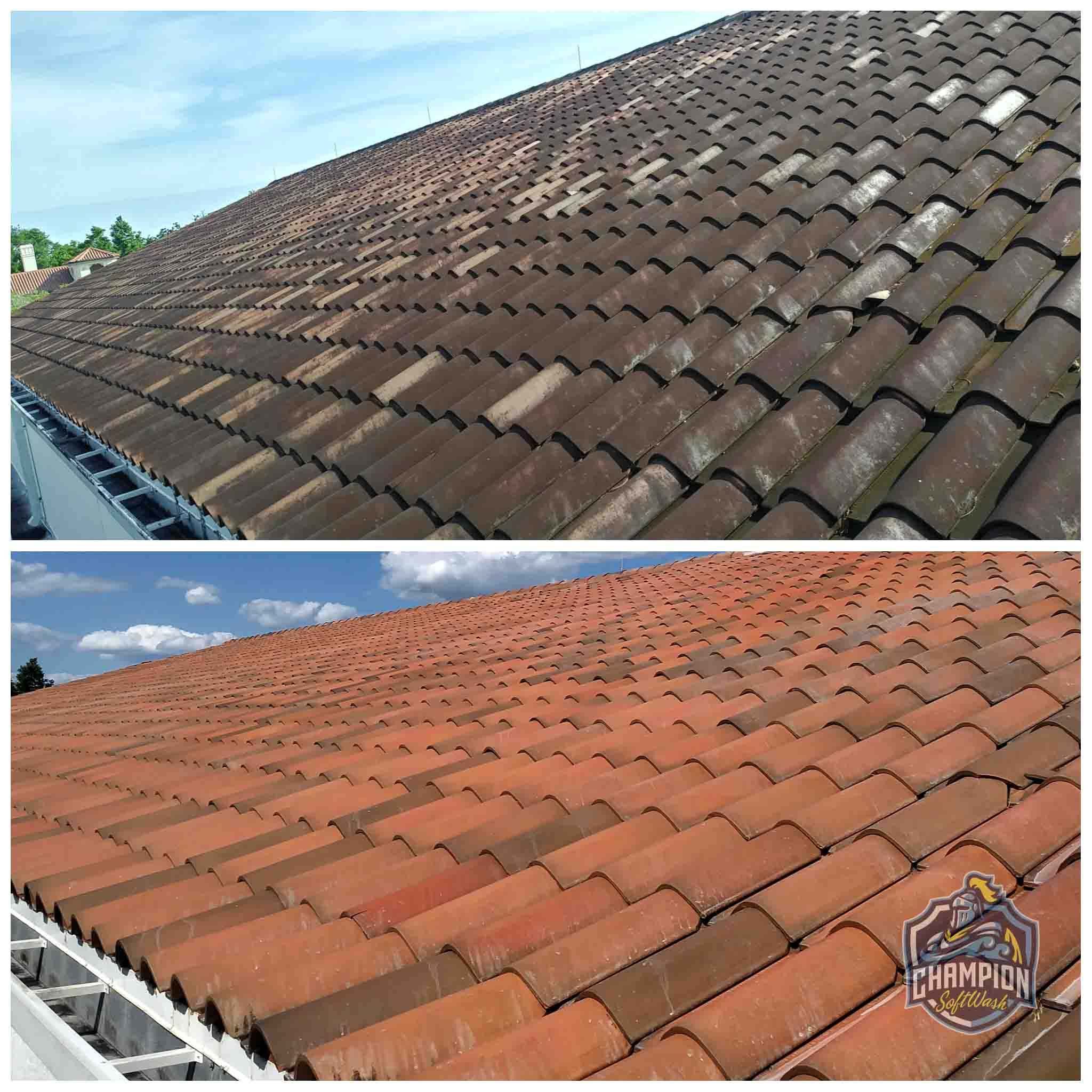 barrel tile roof softwash cleaning before and after on commercial property in orlando