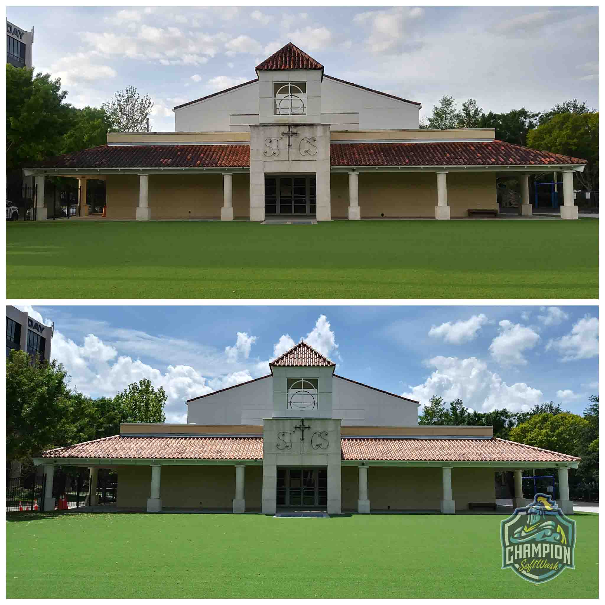 Dirty Barrel tile roof cleaning on church and school in Orlando Florida, mold removal, Dirty Roof