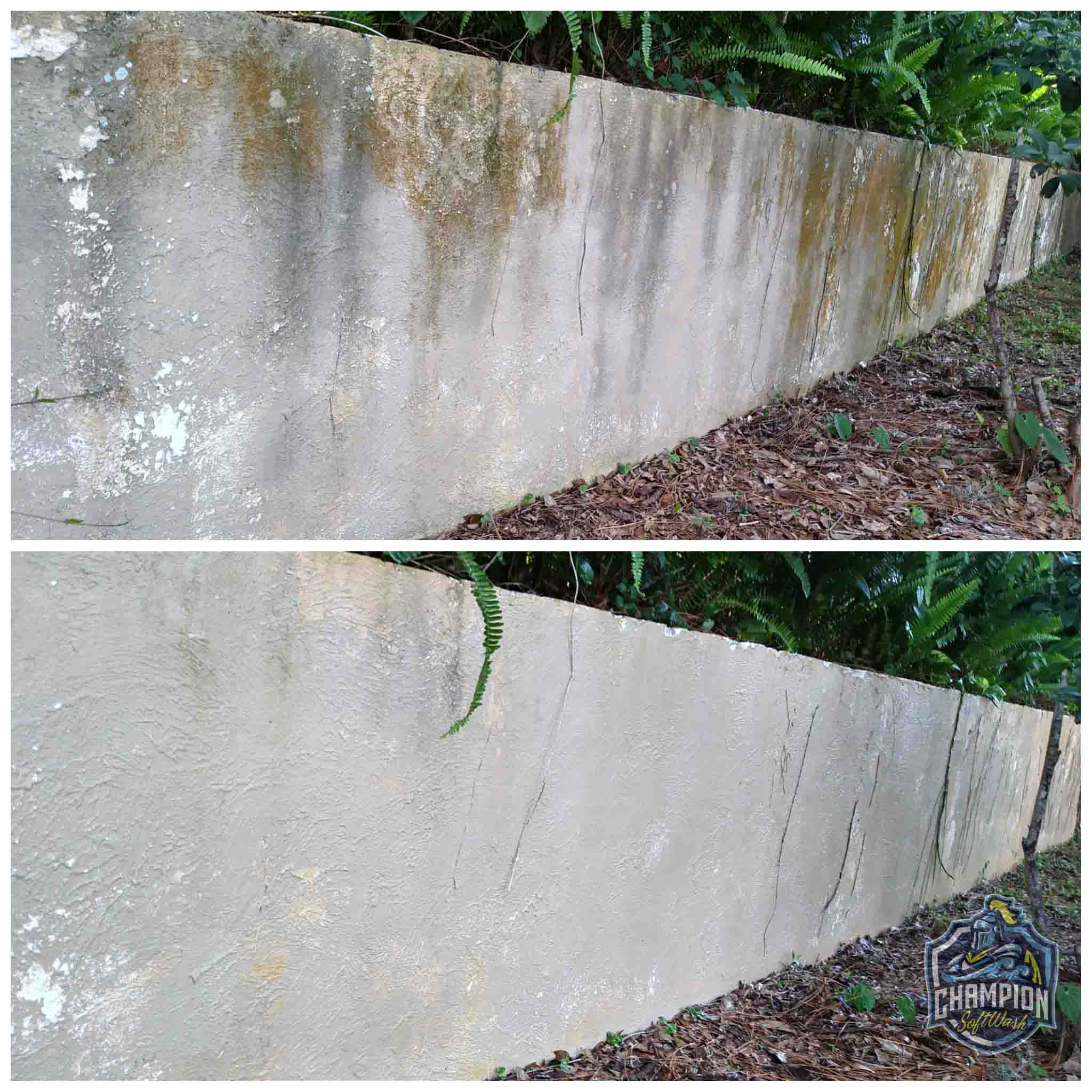 Before and After of SoftWashing of stucco wall in Florida, Safe alternative to pressure washing, no harsh pressure
