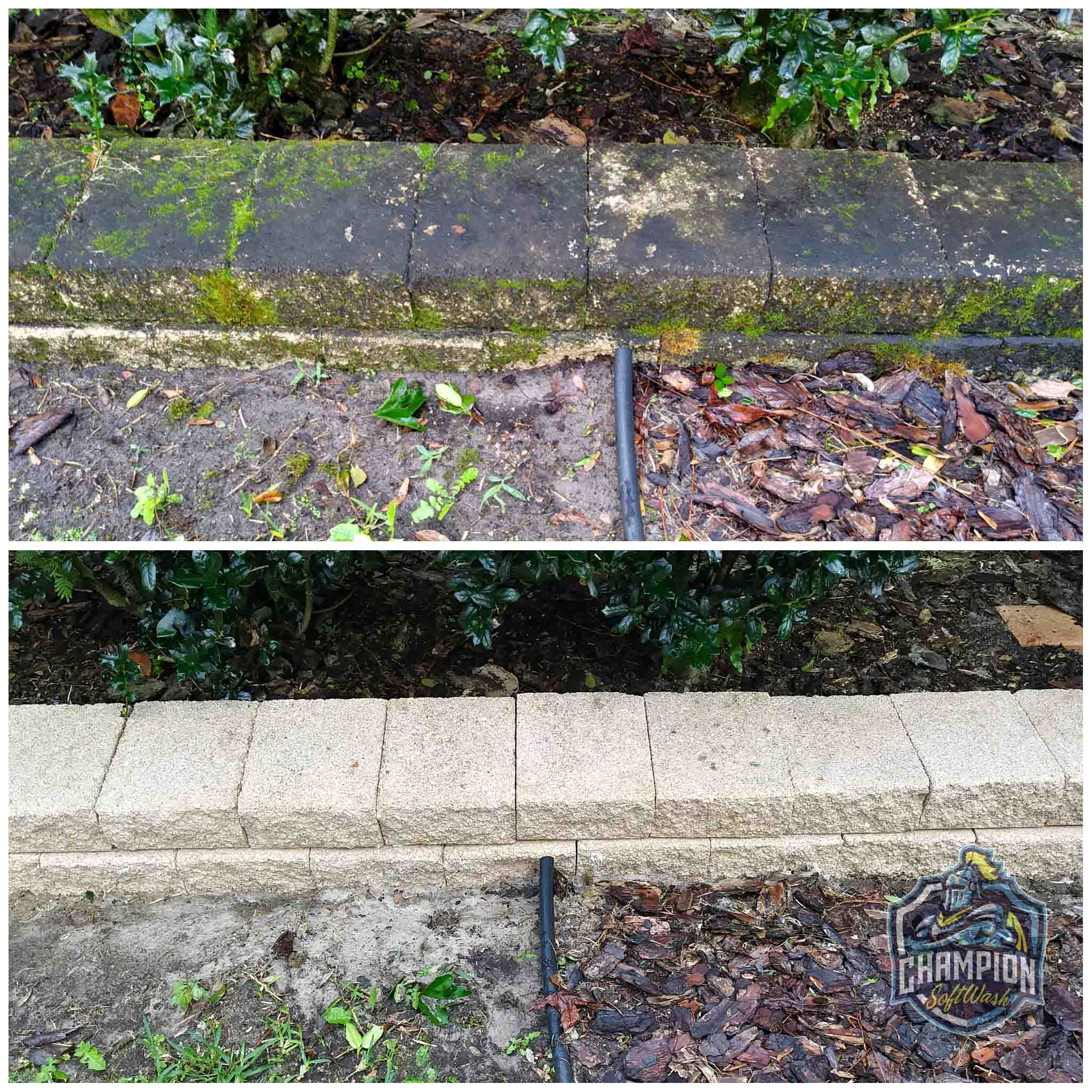 Keystone Block Retaining Wall Before and After of SoftWash Cleaning