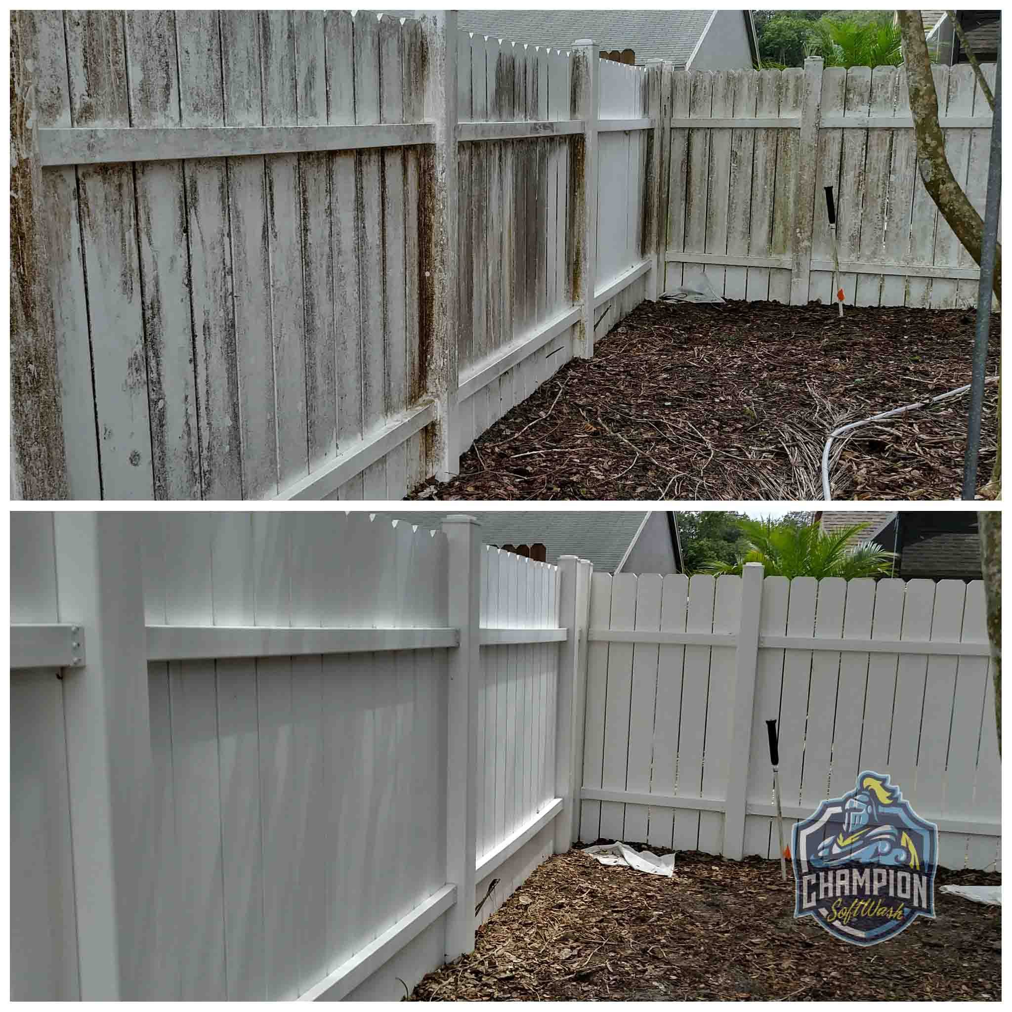 Dirty vinyl fence cleaned with low pressure soft washing, no pressure washer