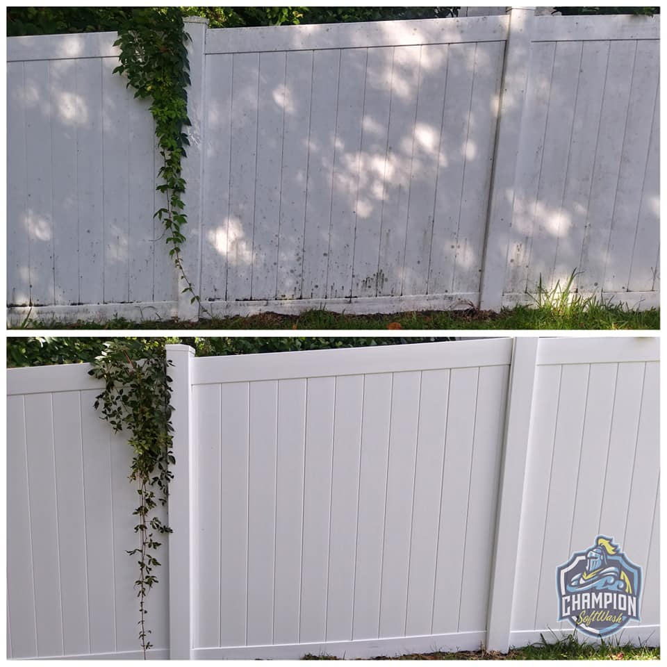 vinyl fence cleaner cleaning historic downtown sanford florida, pressure washer soft washing