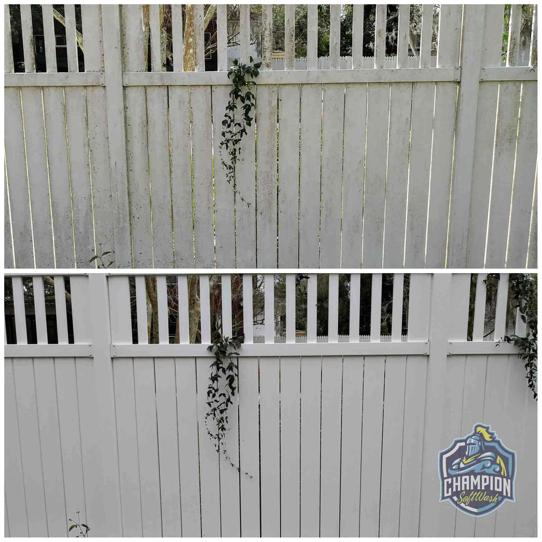 Before and After of Dirty vinyl fence cleaned with low pressure soft washing, no pressure washer
