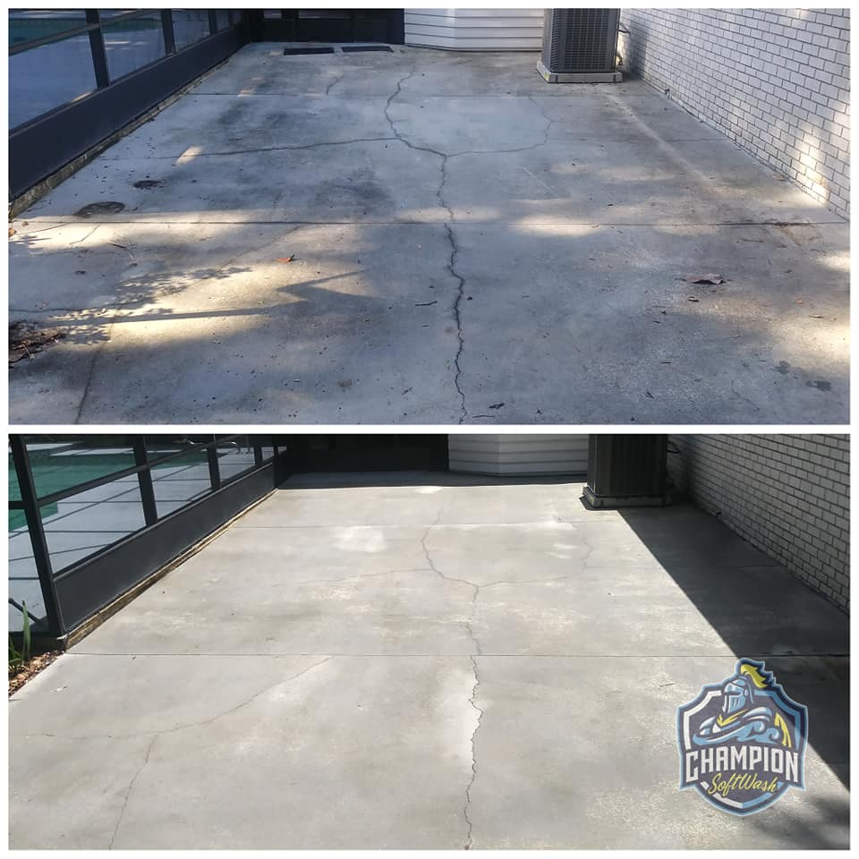 Patio cleaning pool deck, screen enclosure cleaning, pressure wash, pressure washing, softwash, soft wash cleaning