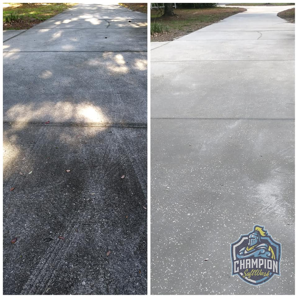 Driveway Cleaning in Sanford Florida, driveway pressure cleaning, driveway soft washing, Lake Mary