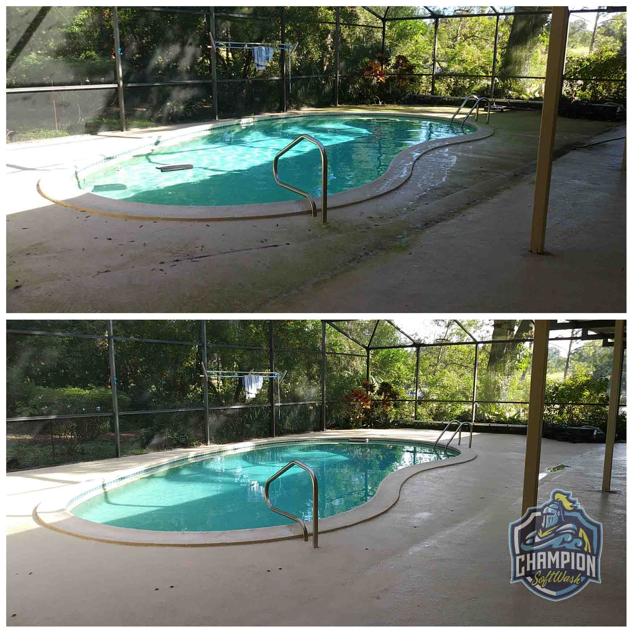 Before and After pool deck and screen enclosure cleaning in Florida by Champion SoftWash