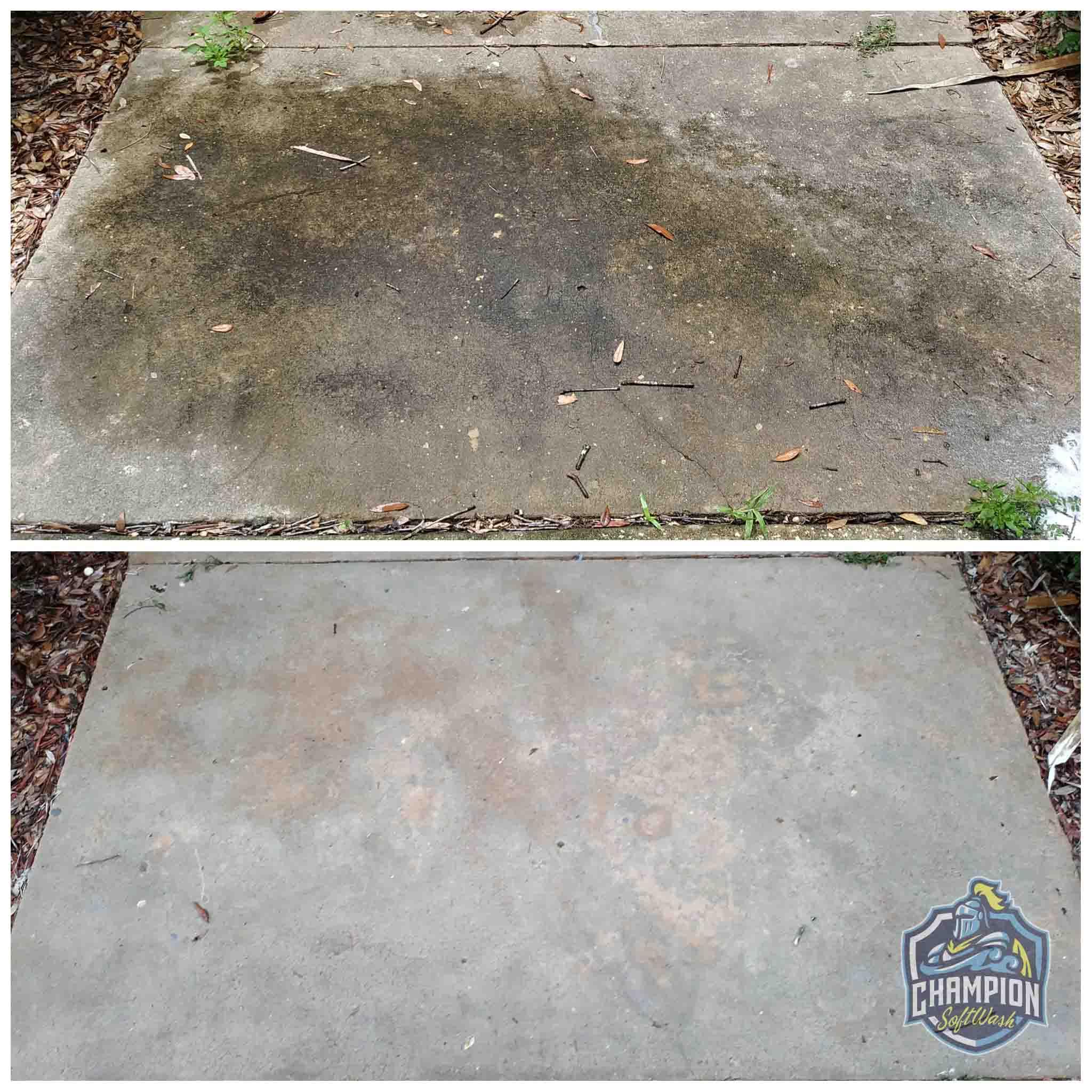 Concrete Sidewalk Cleaning in Florida, Pressure washing, softwashing, soft washing