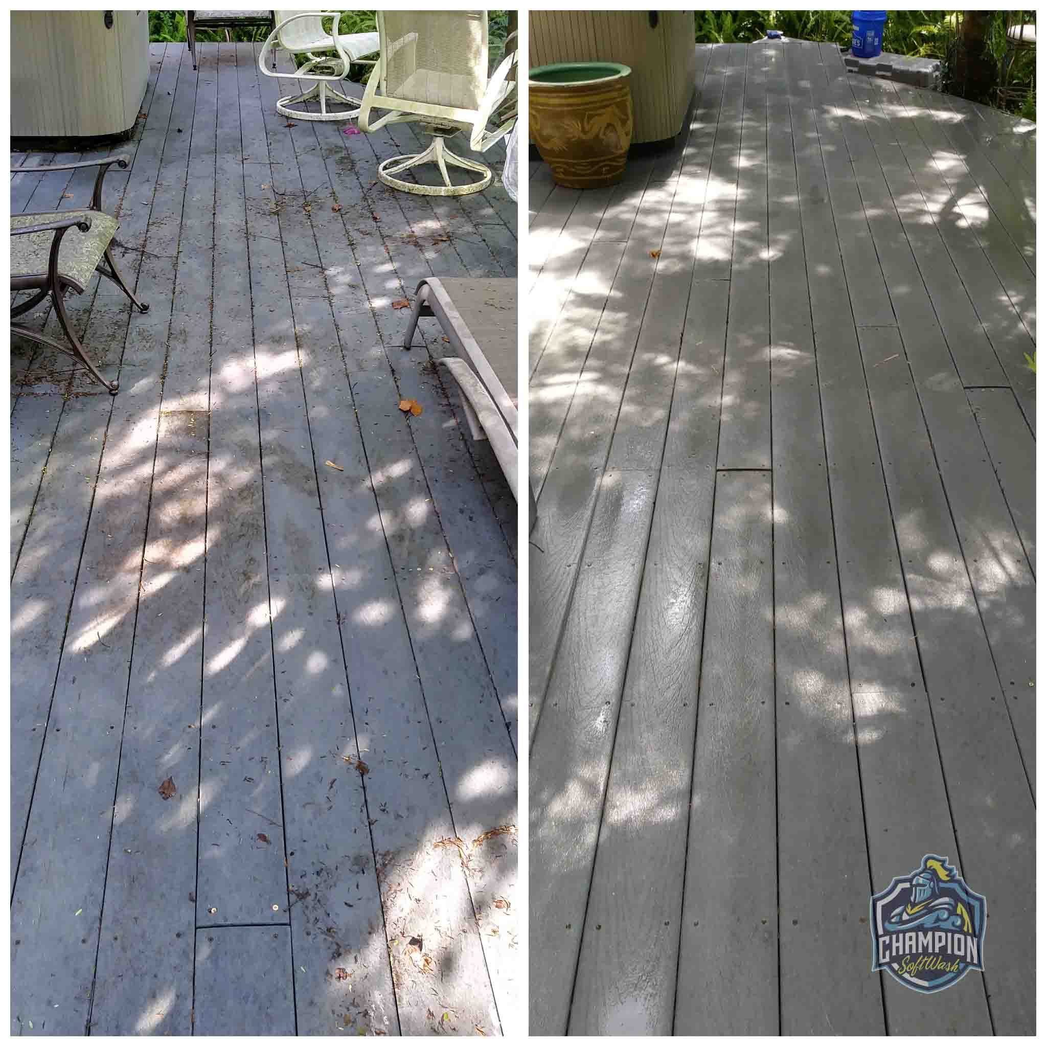 Trex Decking Cleaning in Florida Before and After, cool deck cleaning