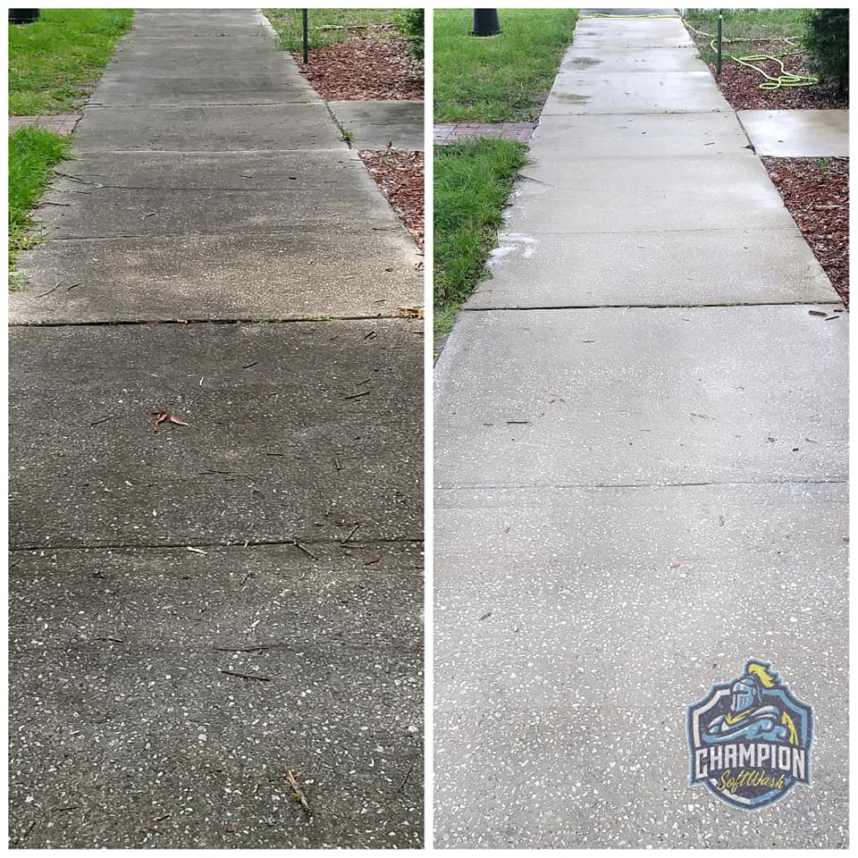 before and after sidewalk pressure washing in Historic Downtown Sanford, house cleaning, house washing, roof cleaning, roof soft washing