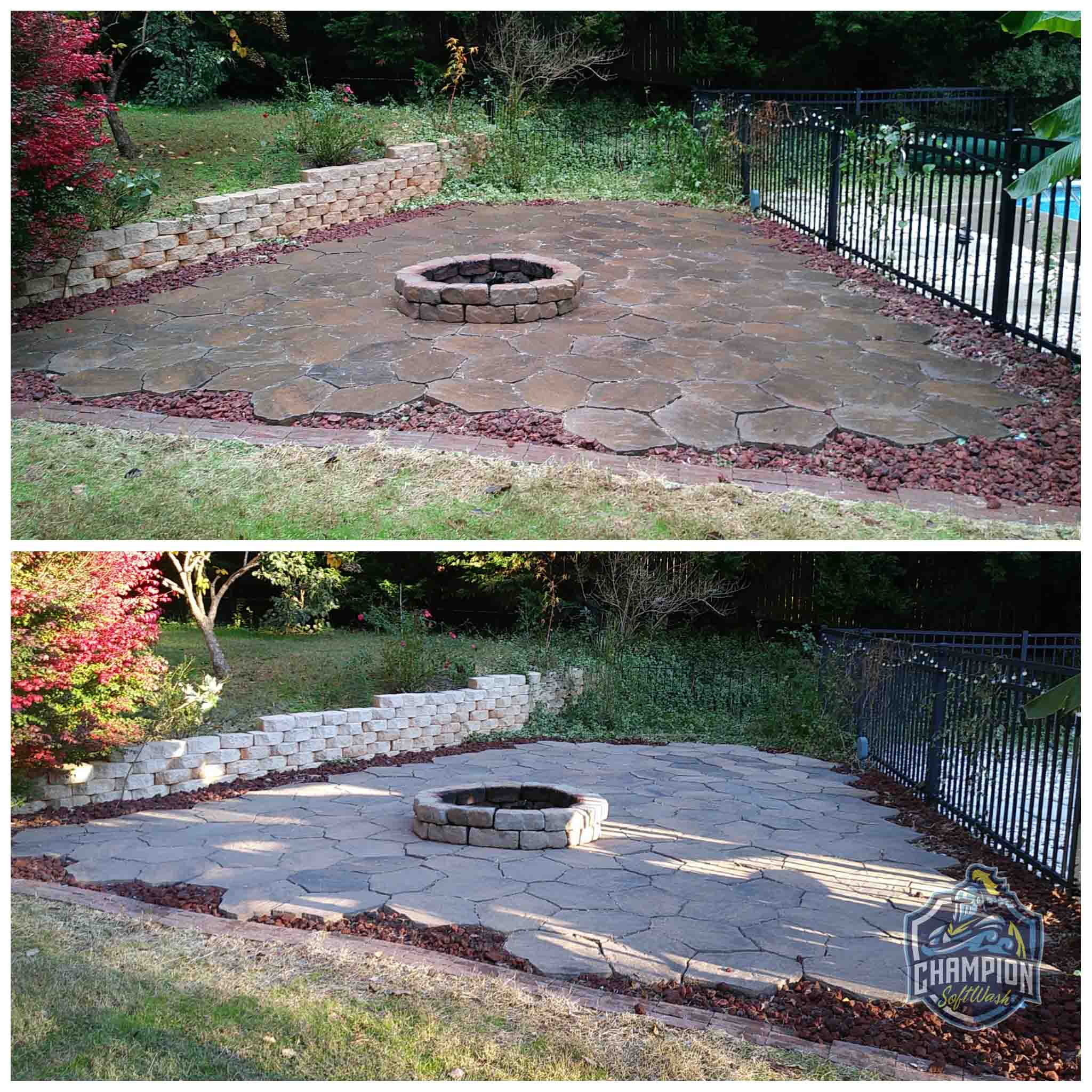 Before and After of patio pavers, retaining wall and fire pit cleaned with softwashing