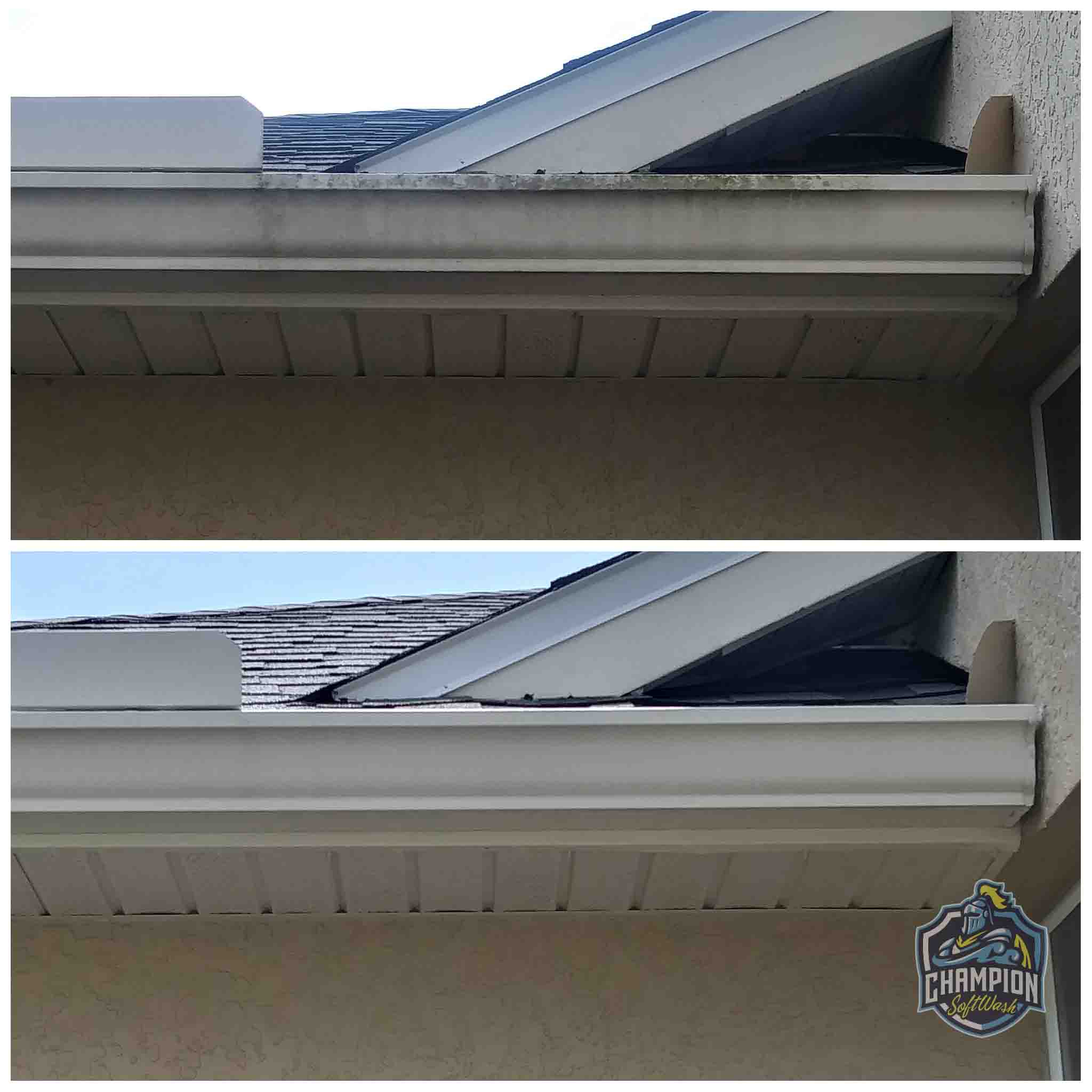 Gutter cleaning and brightening before and after, soffit cleaning, house wash