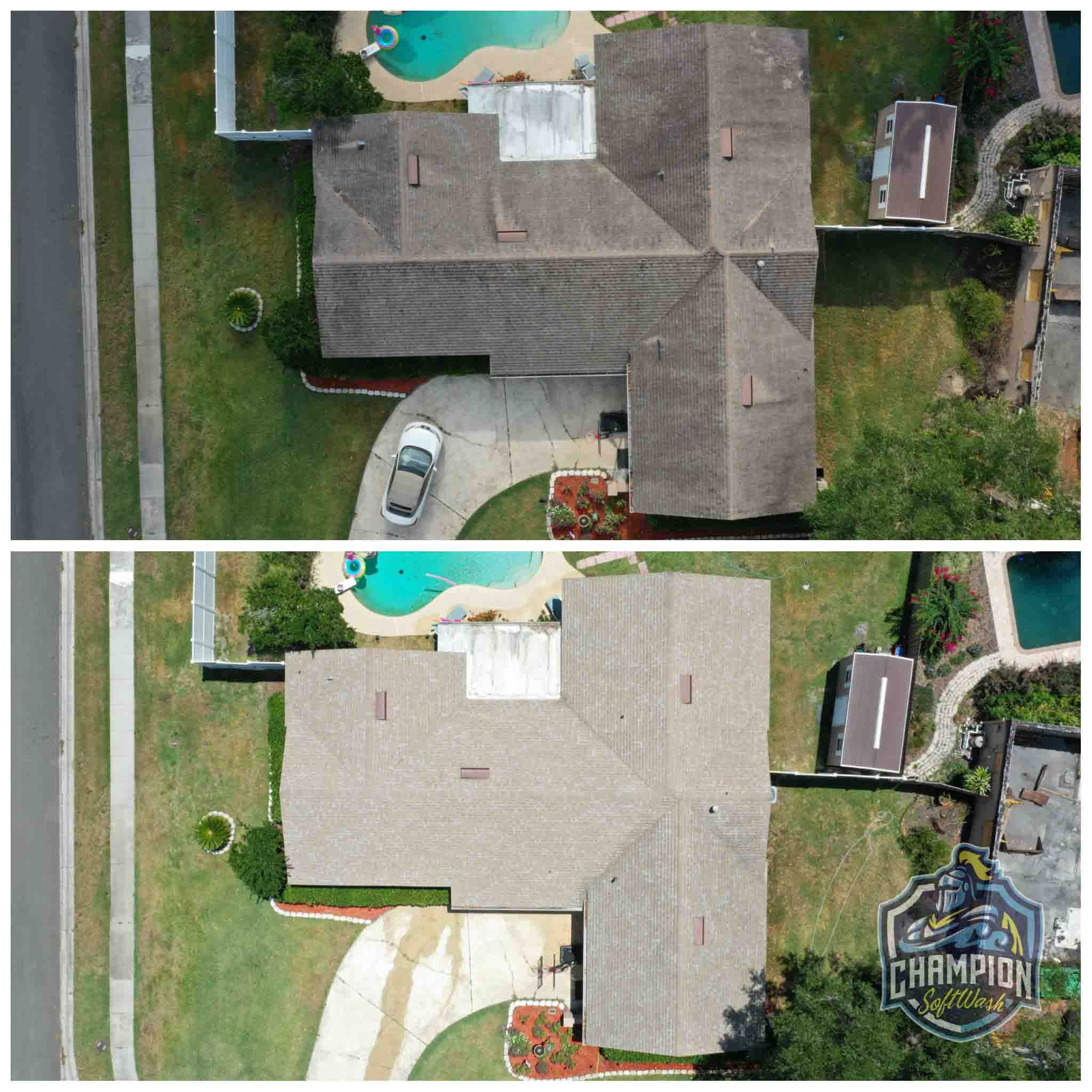 Roof Cleaning for realtor listing in Longwood FL. Shingle Roof cleaning, skylight cleaning, flat roof cleaning