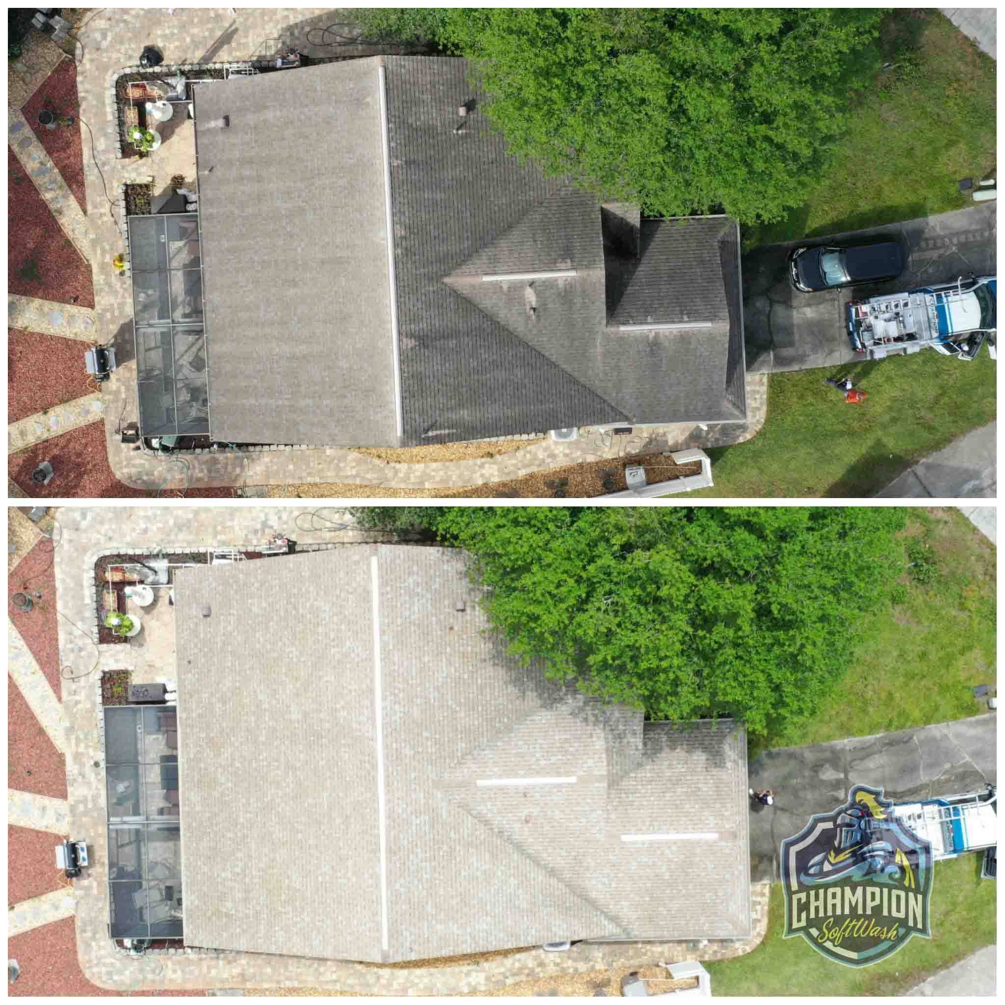 Roof Cleaning for realtor listing in Apopka FL. Shingle Roof cleaning, skylight cleaning, flat roof cleaning
