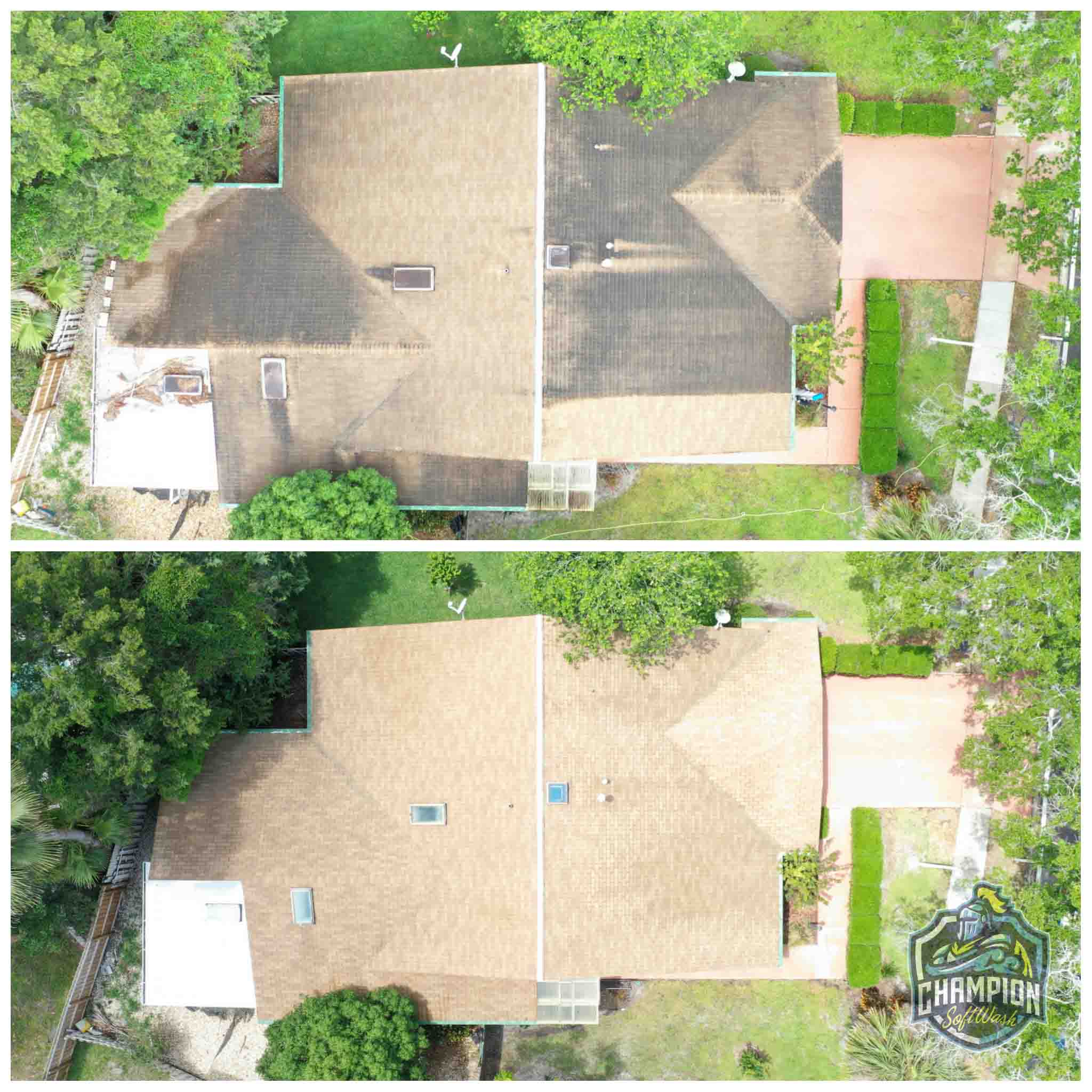 Roof Cleaning for realtor listing in Casselberry, FL. Shingle Roof cleaning, skylight cleaning, flat roof cleaning