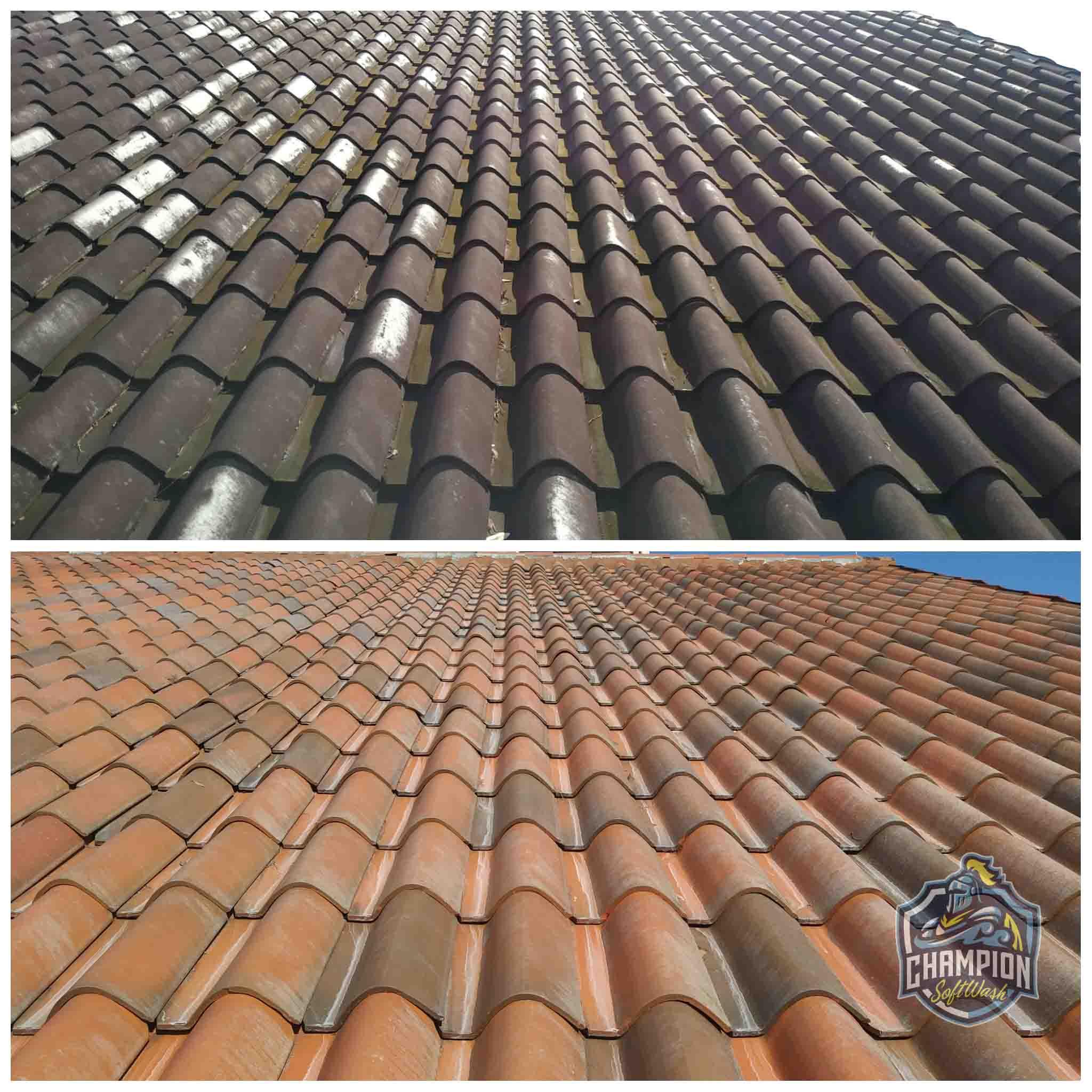 Barrel Tile roof cleaning soft washing pressure washer