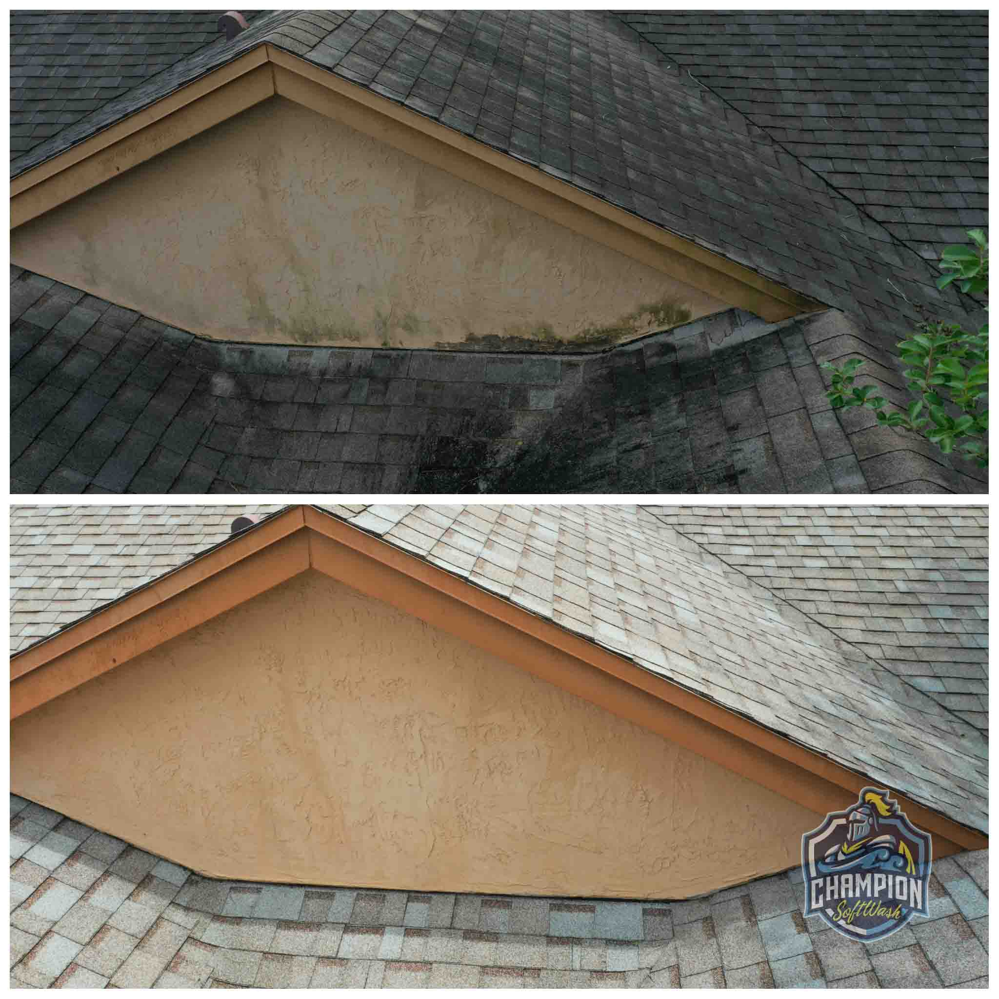 Before and After of roof cleaning and house cleaning in altamonte springs crane's roost