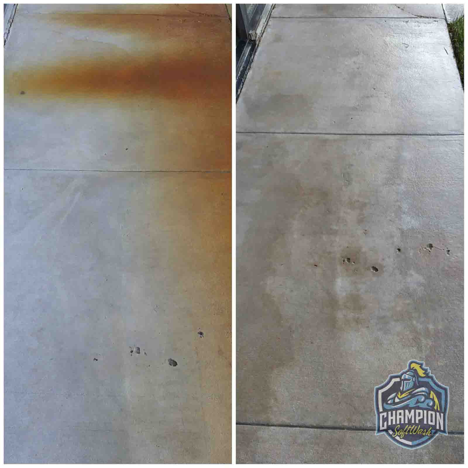 Removing rust from sidewalk in Florida