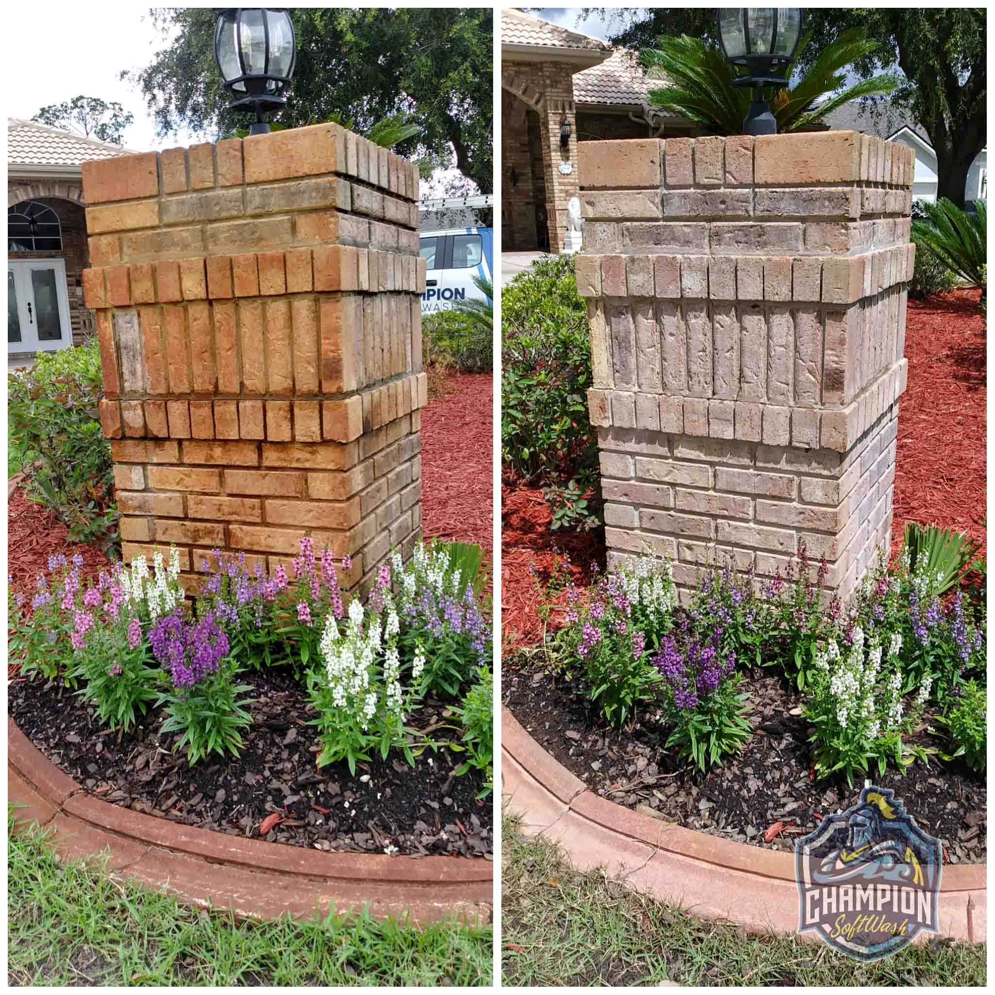 irrigation rust removal on brick column