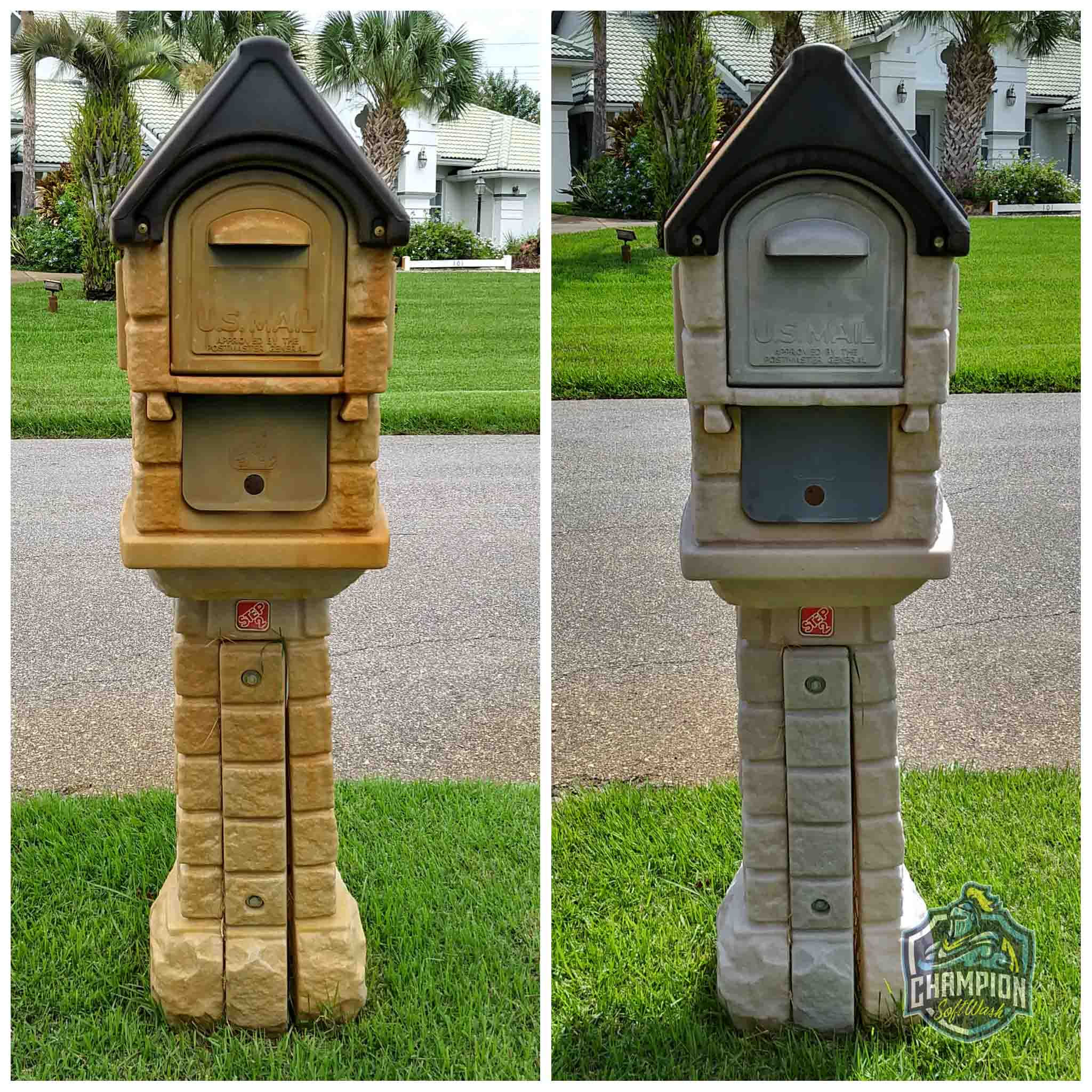 Irrigation rust removal before and after on a mailbox